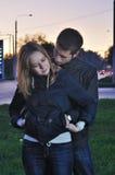 Abbracci amorosi delle coppie nella sera Immagini Stock