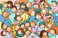 Abbracciando, la gente stringente a sé, gruppo di persone su un abbraccio fa festa Immagine Stock