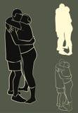 Abbracciare delle coppie della siluetta fotografie stock libere da diritti