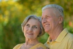 Abbraccio anziano felice delle coppie Fotografia Stock Libera da Diritti