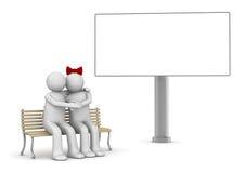 Abbraccio delle coppie su un banco con copyspace Royalty Illustrazione gratis