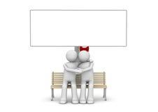 Abbraccio delle coppie su un banco con copyspace Illustrazione Vettoriale