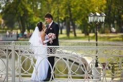 Abbraccio delle persone appena sposate felici immagini stock