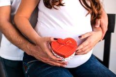 Abbraccio incinto delle coppie e pancia incinta della tenuta fotografia stock