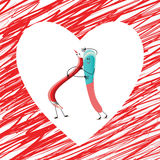 Abbraccio rosso dell'eraser e della matita Fotografie Stock