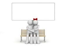 Abbraccio uomo e della donna su un banco con copyspace Royalty Illustrazione gratis