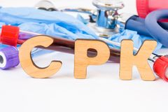 Abbreviation or acronym of CPK, in laboratory, scientific, research or medical practice means creatine phosphokinase creatine kin Royalty Free Stock Photos