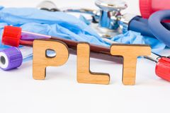 Abbreviation or acronym of PLT, in laboratory, scientific, research or medical practice means platelet count, is in foreground wit stock photography