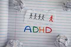 Abbreviation ADHD on notebook sheet with some crumpled paper bal Stock Image