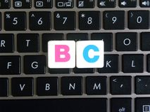 Abbreviation BC on keyboard background. Abbreviation BC Business Continuity on keyboard background stock images
