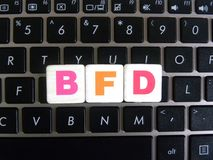 Abbreviation BFD on keyboard background. Abbreviation BFD Bidirectional Forwarding Detection on keyboard background royalty free stock photos