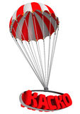 Abbreviation of car insurance (Russian language) is flying on parachutes. Abbreviation of car insurance (Russian language) is falling down on parachute. Isolated stock illustration