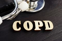 Abbreviation COPD Chronic obstructive pulmonary disease from letters. Abbreviation COPD Chronic obstructive pulmonary disease from wooden letters royalty free stock image