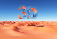 Abbreviation 3D over a sand desert. Computer generated 3D illustration with the abbreviation 3D over a sand desert Royalty Free Stock Photos
