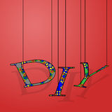 Abbreviation DIY on a red background. Vector illustration of the acronym DIY colored letters filled textured black rope hanging on a red gradient background with vector illustration