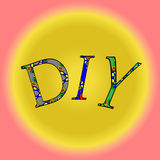 Abbreviation DIY on a yellow background. Vector illustration abbreviation DIY texture of English letters on a yellow gradient background in pink box vector illustration