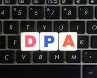 Abbreviation DPA on keyboard background. Abbreviation DPA Data Processing Addendum on keyboard background stock image