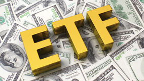 Abbreviation ETF. On the background of one hundred dollar bills Stock Image