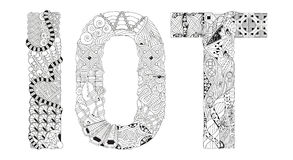 Abbreviation IOT for coloring. Vector decorative zentangle object. Hand-painted art design. Adult anti-stress coloring page. Black and white hand drawn Stock Images