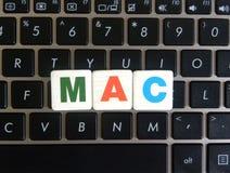 Abbreviation MAC on keyboard background. Abbreviation MAC Media Access Control on keyboard background royalty free stock photos