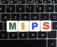 Abbreviation MIPS on keyboard background. Abbreviation MIPS Million Instructions Per Second on keyboard background royalty free stock photo