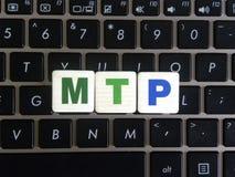 Abbreviation MTP on keyboard background. Abbreviation MTP Media Transfer Protocol on keyboard background royalty free stock image