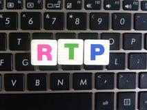 Abbreviation RTP on keyboard background. Abbreviation RTP Real-time Transport Protocol on keyboard background stock photography