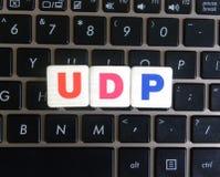 Abbreviation UDP on keyboard background. Abbreviation UDP User Datagram Protocol on keyboard background royalty free stock photos