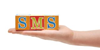 Abbreviations SMS, from color blocks Stock Photography
