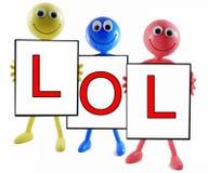 Abbreviazione di LOL su priorità bassa bianca Fotografia Stock