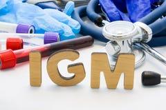 Abbreviazione medica IGM nei sistemi diagnostici del laboratorio Le lettere, creano le parole IGM, significanti l'immunoglobulina immagine stock libera da diritti