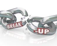 Abbruch gebrochene Link-Ketten-Trennung-Scheidung Lizenzfreies Stockfoto