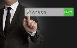 Abbruchsinternet-Browser wird vom Geschäftsmann bearbeitet Stockbild