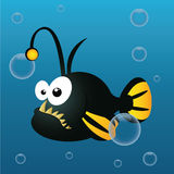 Abbysal fish. Cute abyssal fish on abstract sea background Stock Photography