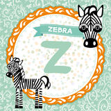 ABC动物Z是斑马 儿童的英语字母表 免版税库存照片