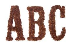 abc在烟草上写字 库存图片