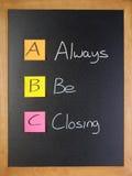 abc是闭合值的销售培训 免版税库存照片