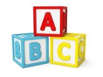 ABC被隔绝的积木 图库摄影