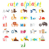 Abc Αλφάβητο παιδιών με τα χαριτωμένα ζώα κινούμενων σχεδίων και άλλο αστείο Στοκ φωτογραφία με δικαίωμα ελεύθερης χρήσης