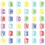 Abc Χρωματισμένη πηγή οικοδόμησης με τους αριθμούς Στοκ Εικόνες