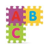 ABC вектора написанный с головоломкой алфавита Стоковое Изображение