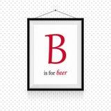 ABC выражений алкоголя в рамке повешенной на стене - письмо b для пива стоковое изображение rf