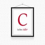 ABC выражений алкоголя в рамке повешенной на стене - письмо c для сидра стоковые изображения