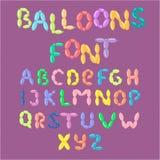 Abc партии праздников вектора алфавита английского воздушного шара красочный и озон образования печатают шарж гелия приветствию п иллюстрация вектора