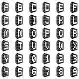 ABC 与数字的大厦字体 库存图片