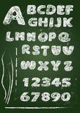 ABC -在黑板写的英语字母表在白色白垩- 免版税库存图片