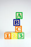 ABC 123. Childrens blocks that spell ABC 123 royalty free stock images