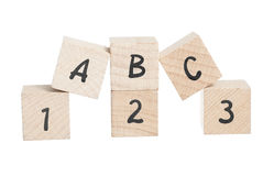 ABC 123 Arranged Using Wooden Blocks. Stock Photos