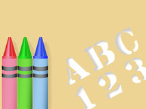 ABC 123 Stencil & Red Green Blue Crayons. ABC 123 Stencil and three crayons - Red Green Blue - all with drop shadows, form a back to school background vector illustration