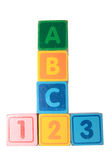 Abc 123 in wooden block letters with clipping path. Toy letter and number blocks against a white background that spell abc 123 with clipping path Royalty Free Stock Photo